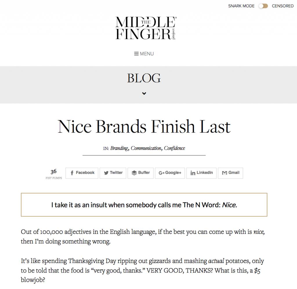 Site de Ash Ambirge sur le copywriting et la personnalité dans le business