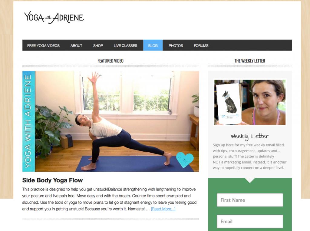 Capture du site Yoga With Adriene